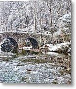 Snow Coming Down On The Wissahickon Creek Metal Print