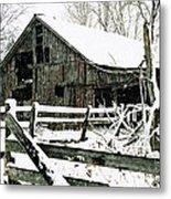 Snow Covered Barn Metal Print