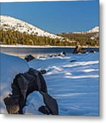 Snow Covered Boulder Metal Print