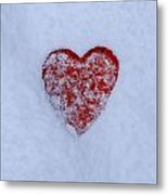 Snow-covered Heart Metal Print