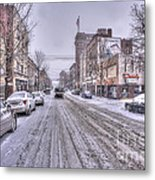 Snow Covered High Street And Cars In Morgantown Metal Print