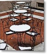 Snow Covered Patio Chairs And Tables Metal Print