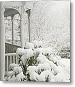 Snow Covered Porch Metal Print