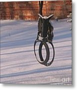 Snow Covered Rocking Horse Swing Metal Print