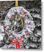 Snow Covered Wreath Metal Print