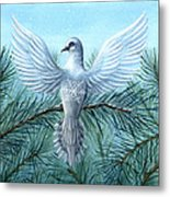 Snow Crystal Dove Metal Print
