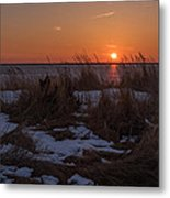 Snow Dune Sunset Seaside Park Nj Metal Print