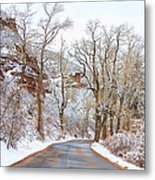 Snow Dusted Colorado Scenic Drive Metal Print