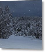 Snow Falling In A Forest Metal Print