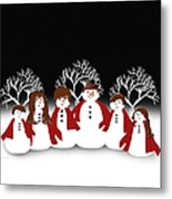 Snow Family 2 Square Metal Print
