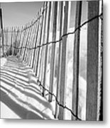 Snow Fence B/w Metal Print
