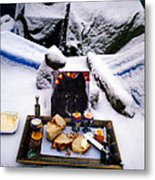 Snow Flake And Colette Winter Snow Lunch Metal Print