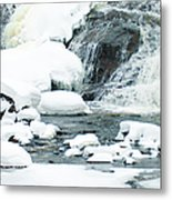 Snow Formations At Bottom Of Bond Falls Metal Print