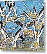 Snow Geese Panic Metal Print