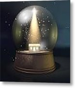 Snow Globe Nativity Scene Night Metal Print