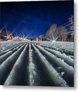 Snow Groomed Trail At A Ski Resort At Night Metal Print