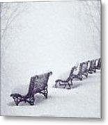Snow In The Park Metal Print