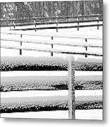 Snow In The Pasture Metal Print