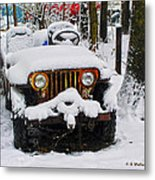 Snow Jeep Metal Print