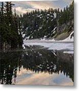 Snow Lake Last Fog Metal Print