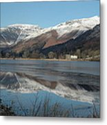 Snow Lake Reflections Metal Print