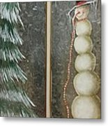 Snow Men And Trees Metal Print
