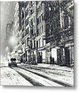 Snow - New York City - Winter Night Metal Print