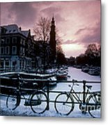 Snow On Canals. Amsterdam, Holland Metal Print