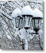 Snow On Lamps Metal Print