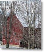 Snow On Red Barn Roof Metal Print