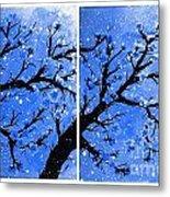 Snow On The Blue Cherry Blossom Tree Metal Print
