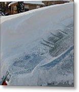 Snow On The Car Metal Print