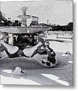 Snow On The Fountain Metal Print