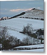 Snow On The Hill Metal Print