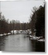 Snow On The Manistee River Metal Print