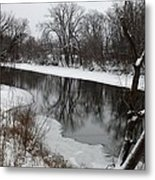 Snow On The River Metal Print