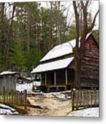 Snow On The Roof Top Metal Print