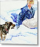 Snow Play Sadie And Andrew Metal Print by Carolyn Coffey Wallace