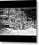 Snow Plow In Black And White Metal Print