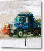 Snow Plow Painterly Metal Print