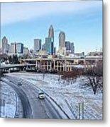 Snow Plowed Public Roads In Charlotte Nc Metal Print