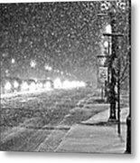 Snow Rush In Black And White Metal Print