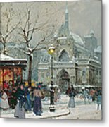 Snow Scene In Paris Metal Print by Eugene Galien-Laloue