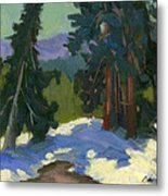 Snow Shadows Mammoth Mountain Metal Print