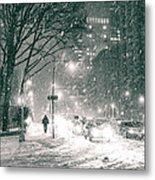 Snow Swirls At Night In New York City Metal Print by Vivienne Gucwa