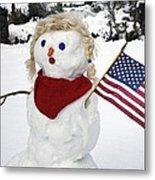 Snow Woman With Flag Metal Print