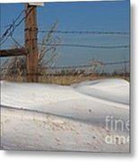 Snowbank On A Country Road Metal Print by Robert D  Brozek