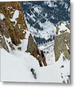 Snowboarder Doing A Slash Metal Print