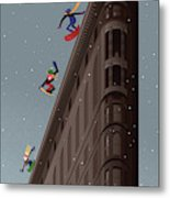 Snowboarders Fly Off The Flatiron Halfpipe Metal Print