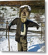 Snowcapped Scarecrow Metal Print by Anne Gilbert
